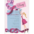 Balloon Gift Girl Blonde Birthday Party Invitation