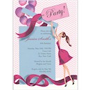 Balloon Gift Girl Brunette Birthday Invitation