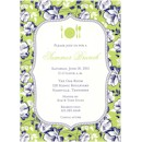 Blue Floral on Green Party Invitation