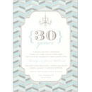 Blue & Grey Chevron Mosaic Party Invitation