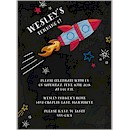 Chalkboard Rocket Birthday Party Invitation