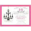 Chandelier on Hot Pink Birthday Party Invitation