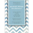 Chevron in Blue Birthday Party Invitation