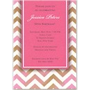 Chevron in Pink Birthday Party Invitation