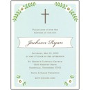 Cross and Foliage Aqua Photo Baptism Invitation