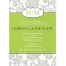 Grey Floral on White/Green Anniversary Invitation