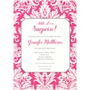 Hot Pink Damask Birthday Party Invitation