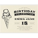 Ice Cream Cone Birthday Party Invitation