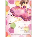 Jumping Party Girl Brunette Party Invitation
