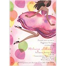Jumping Party Girl Multicultural Party Invitation