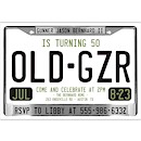 License Plate Suite B Party Invitation
