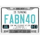 License Plate Suite D Party Invitation