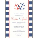 Nautical Blue and Red Wedding Invitation