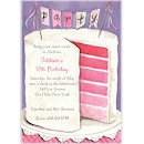 Pink Party Cake Birthday Party Invitation