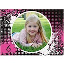 Splash Fuchsia Photo Birthday Party Invitation