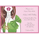 Stylish Surprise Brunette Birthday Invitation