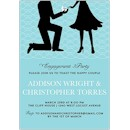 The Proposal in Blue Engagement Party Invitation
