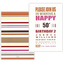 Typography Stripes Birthday Party Invitation
