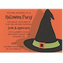 Witch's Hat on Orange Halloween Party Invitation