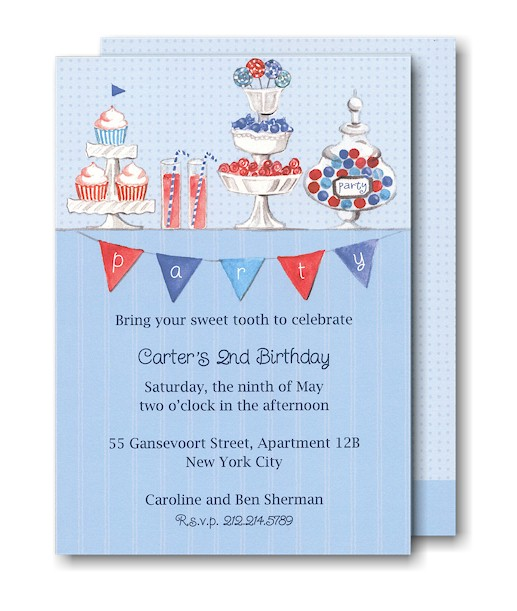 Candy Buffet in Blue Birthday Party Invitation