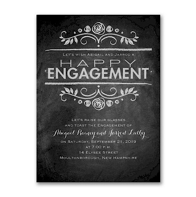 Chalkboard News Engagement Party Invitation