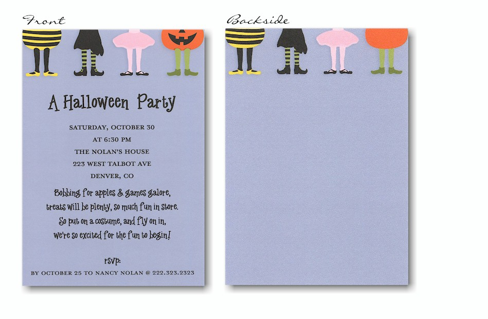 Kids\' Costumes on Blue Halloween Party Invitation