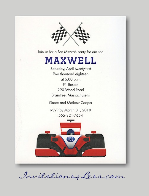 Car Bar Mitzvah Party Invitation – Car Party Invitations